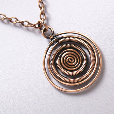 Handmade Antiqued Copper Spiral Pendant Necklace - Hipimi
