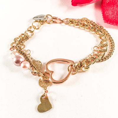 Rose Gold Heart Charm Bracelet with rose pearls - Hipimi