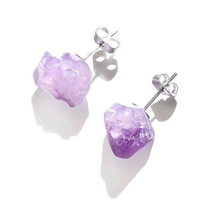 Raw Amethyst Earrings, Raw Stud Earrings - Hipimi