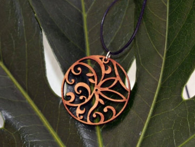 Floral Circle Pendant in cherry on leather cord - Hipimi