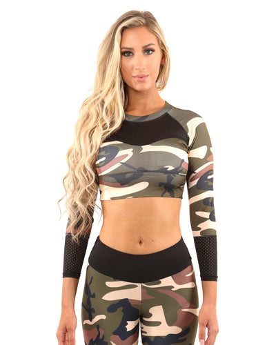 Virginia Camouflage Set - Leggings & Sports Bra - Brown/Green - Hipimi