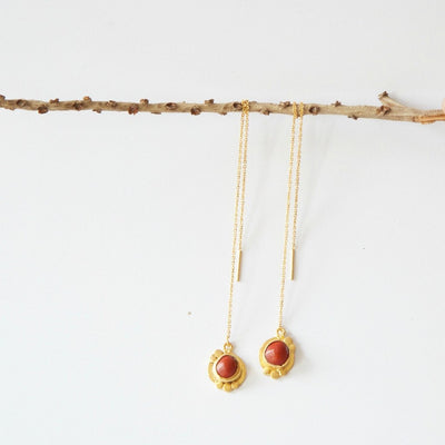 Red Seed Threader Earrings - Hipimi