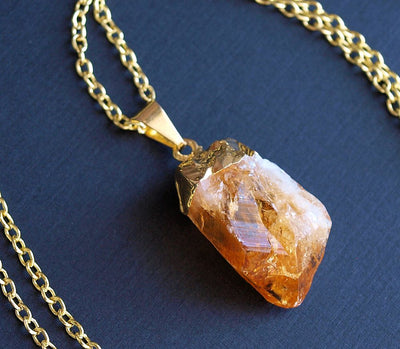 Gold Raw Citrine Crystal Statement Necklace - Hipimi