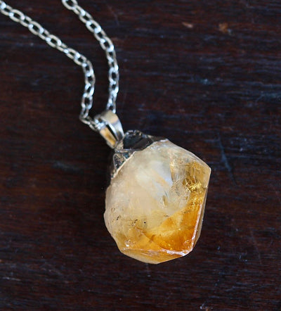 Raw Citrine Crystal Statement Necklace - Hipimi