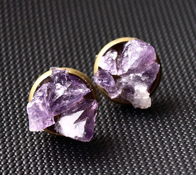 Amethyst Cluster Stud Earrings, Raw Amethyst Earrings - Hipimi