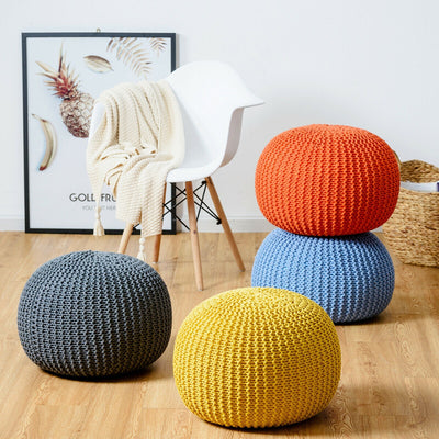 100% Cotton Hand Knitted Pouf Floor Seating Ottoman - Hipimi