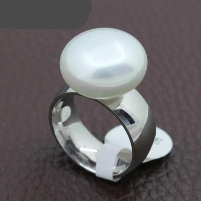 Simulated Pearl on Stainless Steel Ring - Hipimi