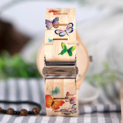 Butterfly Bamboo Strap Quartz Watch - Hipimi