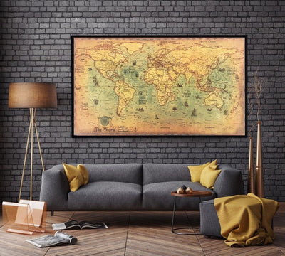 Vintage World Map Poster - Hipimi