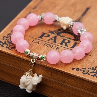 Elephant Charm Bracelet with Buddha Head - Hipimi