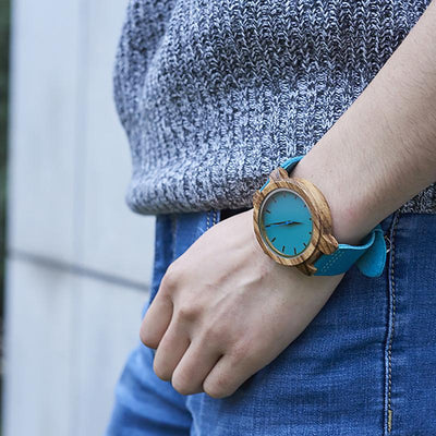Turquoise Bamboo Watch w Leather Band - Hipimi