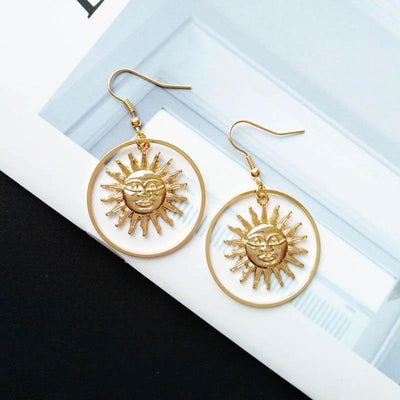 Gold Sun Drop Earrings - Hipimi
