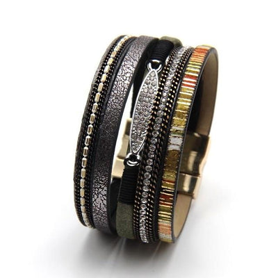 Leather Rhinestone Bracelet - Hipimi