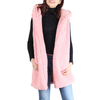 Pink Sherpa Open Front Hooded Sleeveless Vest - Hipimi