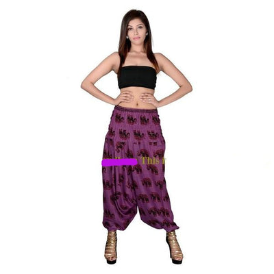 ELEPHANT PRINT HAREM PANTS PURPLE - Hipimi