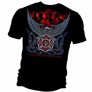 "Firefighter Eagle ""Sacrifice Beyond.."" Black T-Shirt"