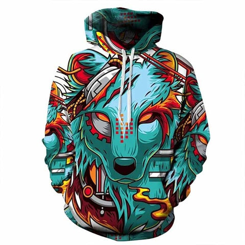 Unisex Color Collage Wolf Hoodie