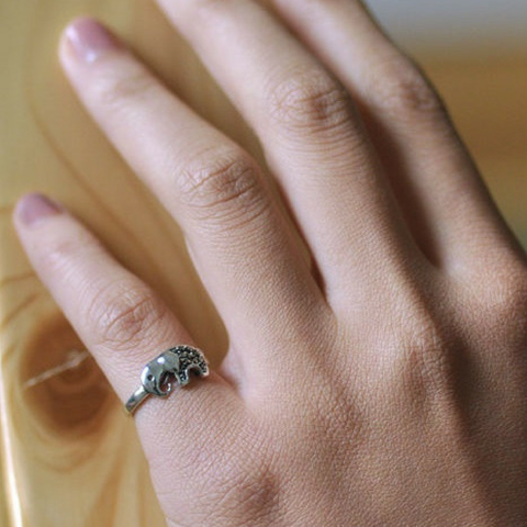 925 Sterling Silver Elephant Wrap Ring