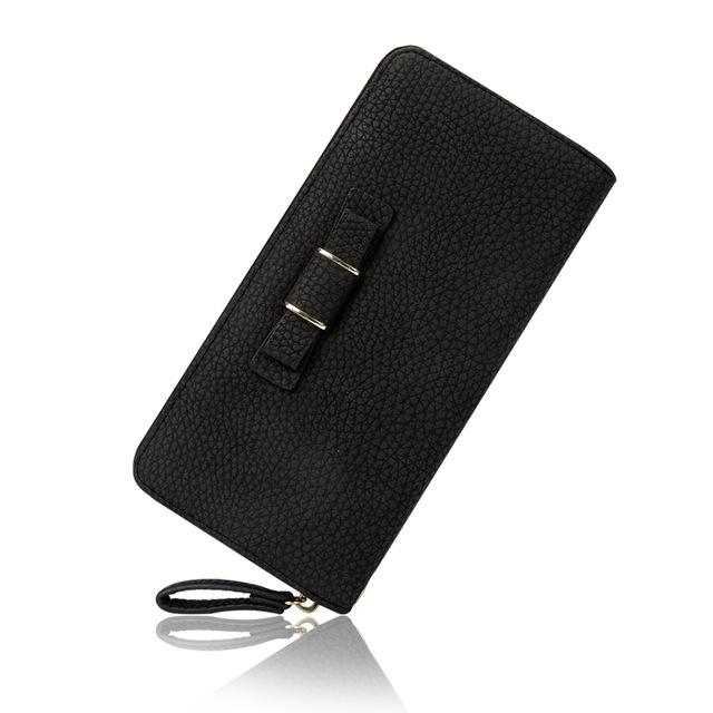 Belle Ribbon Tie Zipper Phone Wallet - Belle Closet