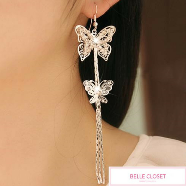Double Butterfly Long Tassel Earrings - Belle Closet