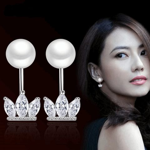 Exquisite Crown Pearl Earrings - Belle Closet