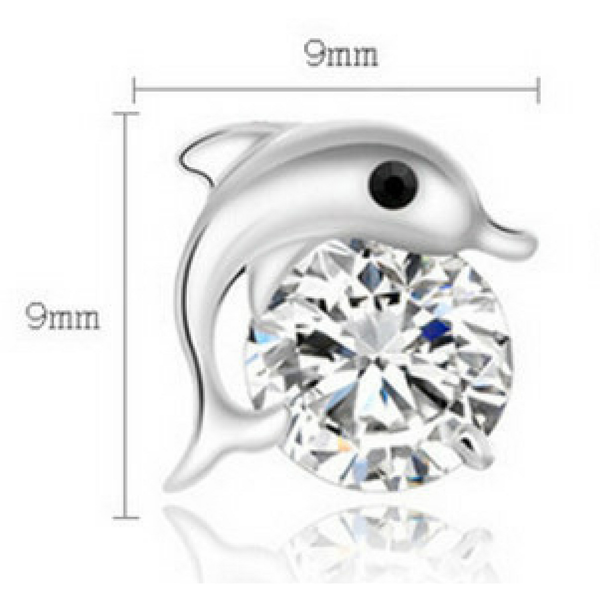 Exquisite Playful Dolphin Dazzling Stud Earrings