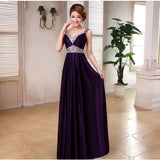 Rhinestone Halter Long Evening Dress - Belle Closet