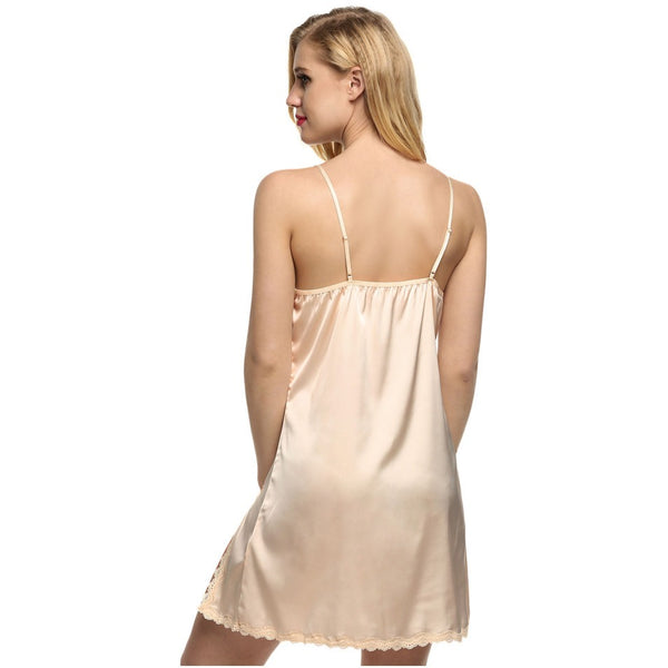 Belle Deep V Lace Satin Nightgown - Belle Closet