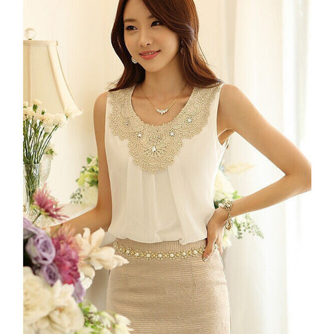 Blouse Chiffon Sleeveless Vest - Belle Closet