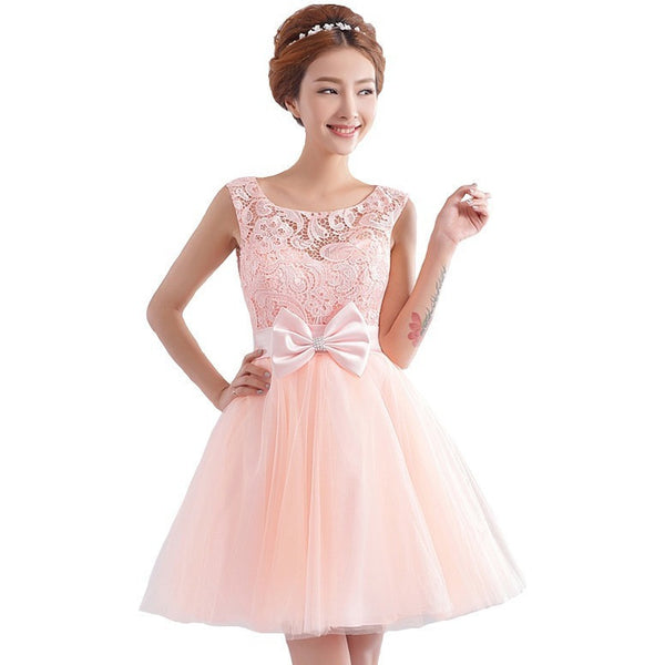 Bow Lace Tulle Prom Dress - Belle Closet
