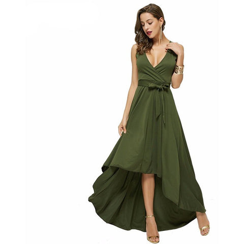 Deep-V Neck Vestidos Long Dress - Belle Closet