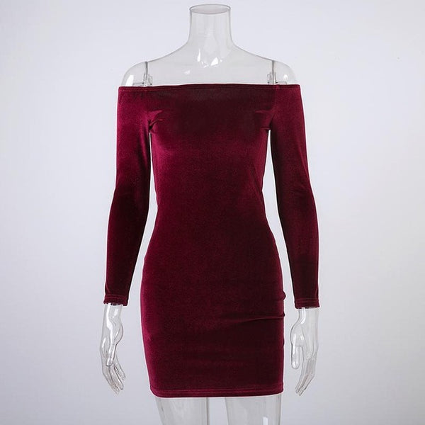 Off Shoulder Velvet Sheath Dress - Belle Closet