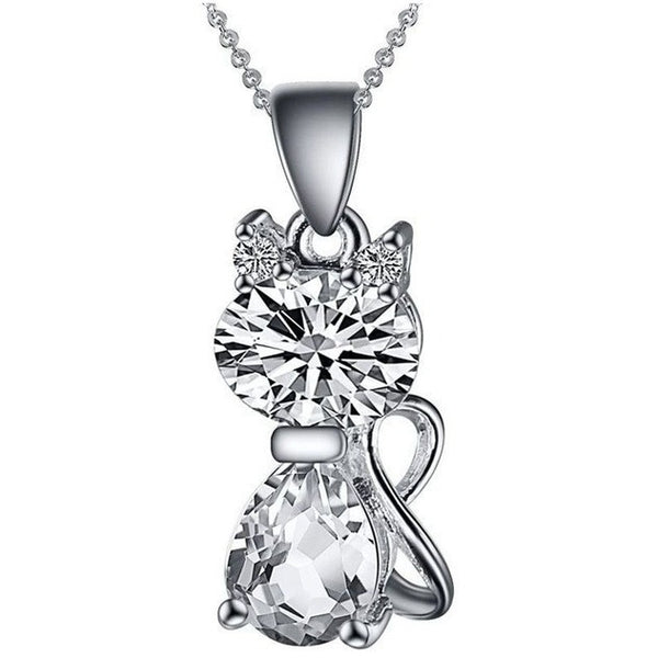 Silver Plated Austria Crystal Cat Pendant - Belle Closet
