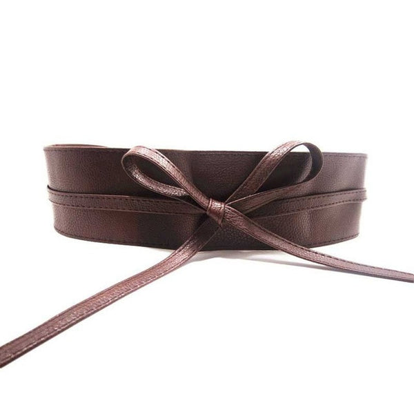 Ribbon Tie Leather Waist Belt - Belle Closet
