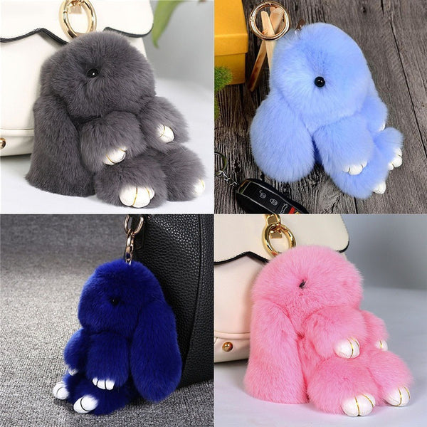 Premium Knitted Fluffy Bunny Key Chain - Belle Closet