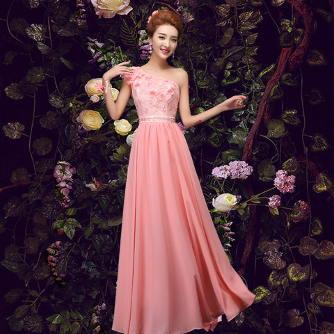 Pink Chiffon Lace Evening Gown - Belle Closet