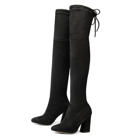 Belle Easy Lace Over Knee Pointed Boots - Belle Closet