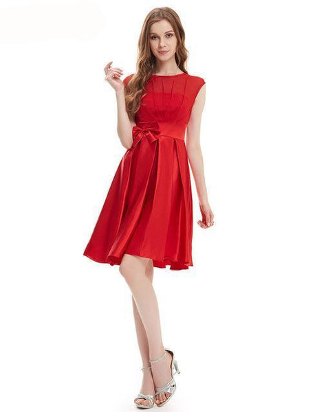 Belle Short Vestidos Satin Cocktail Dress - Belle Closet
