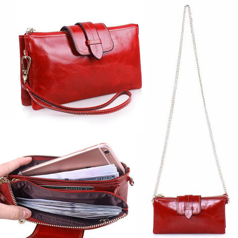 Genuine Leather Versatile Luxury Wristlet Bag