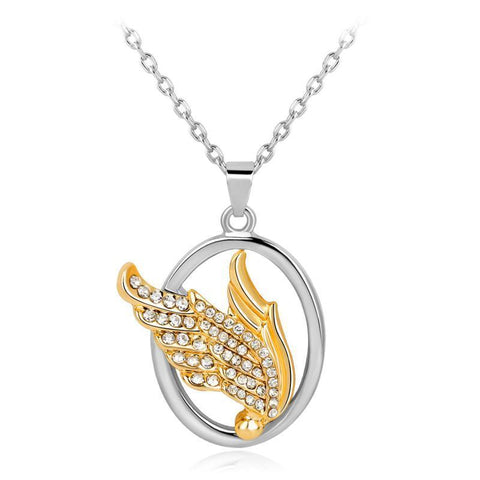 Angel Wing Rhinestone Pendant Necklace - Belle Closet