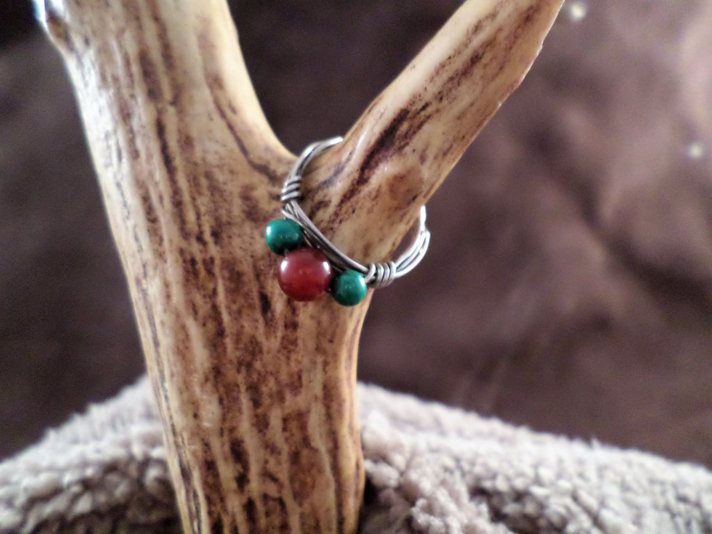Burgundy and Green Bead Ring