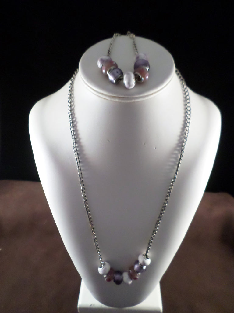 Purple and White Glass Bead Necklace