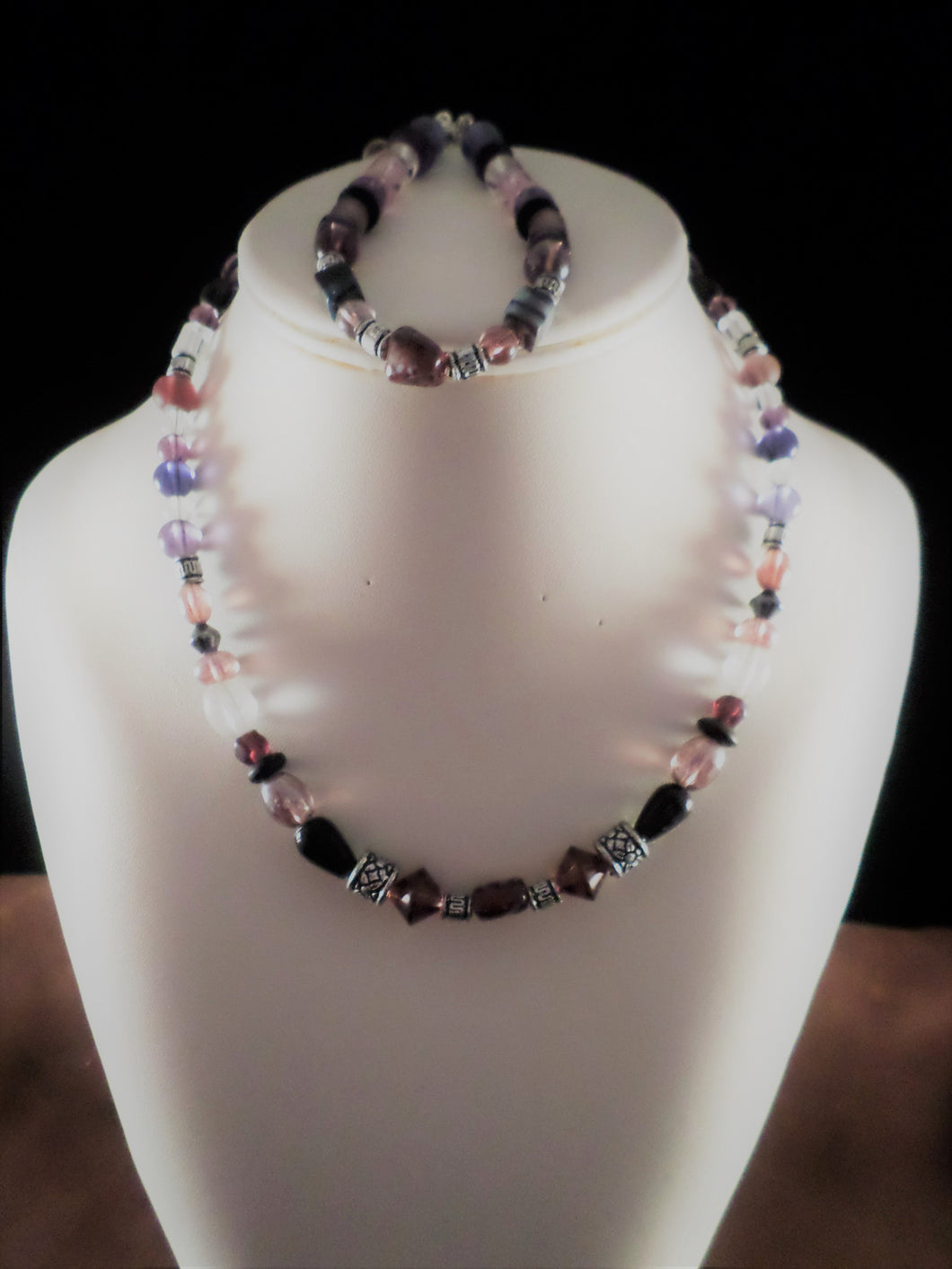 Purple and Black Glass Bead Necklace