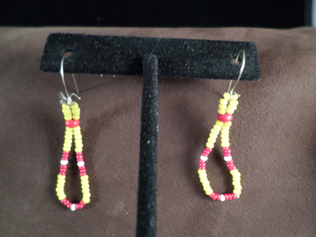 Red and Yellow Loop Earrings