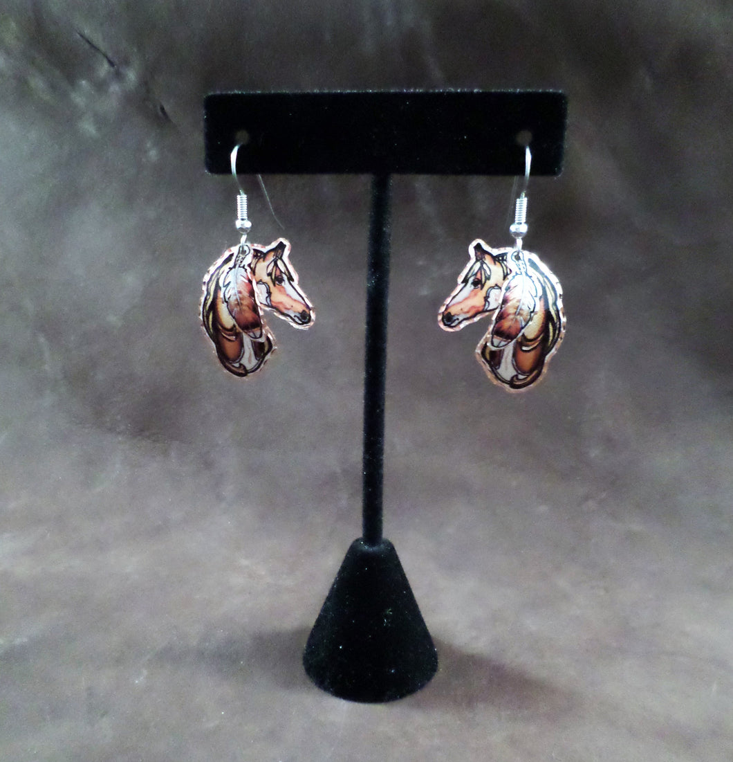 Horse with Feather Copper Earrings