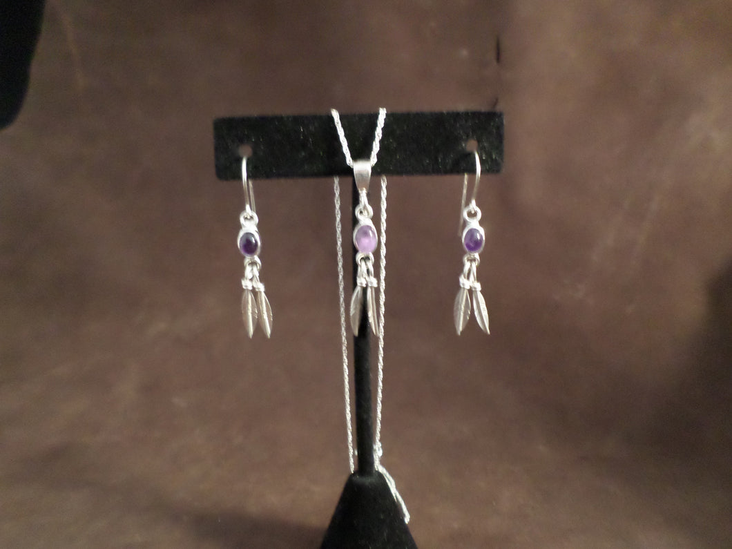 Purple Feather Earring and Necklace Set