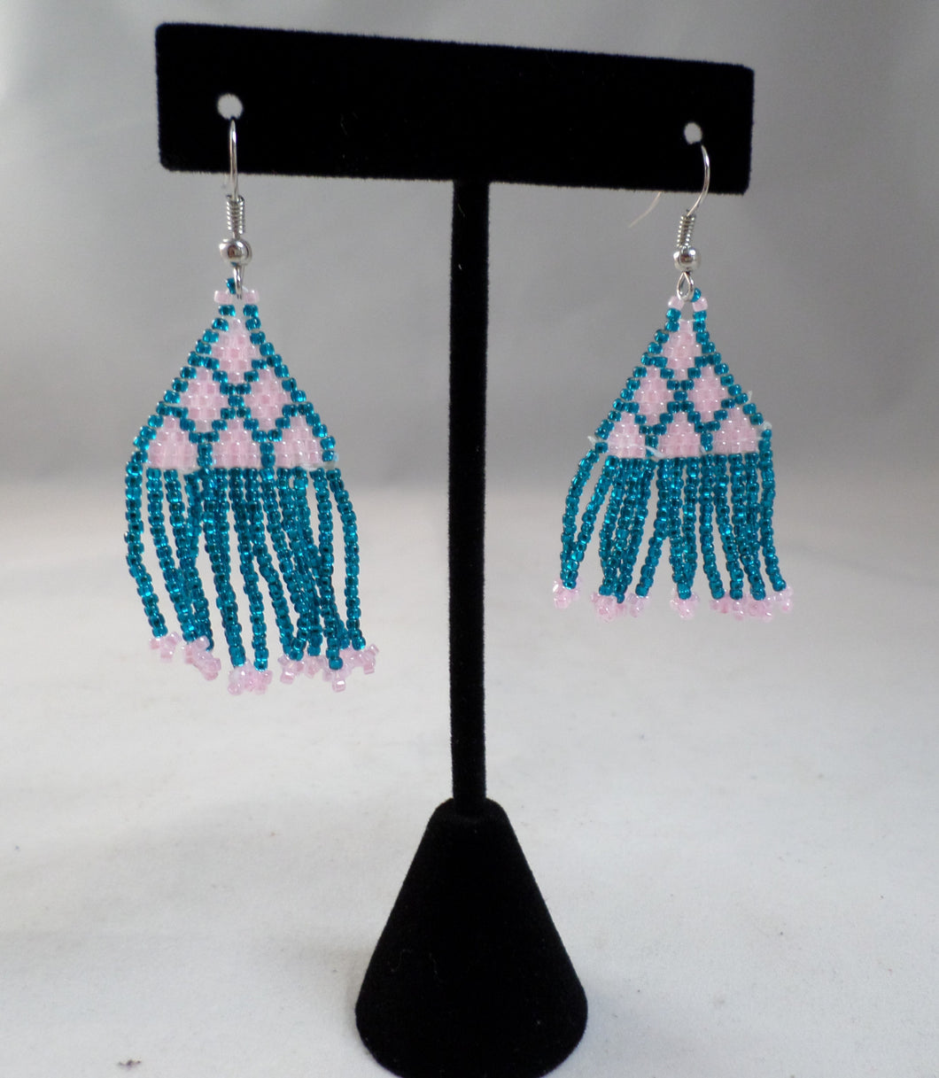 Teal and Pink Pyramid Earrings