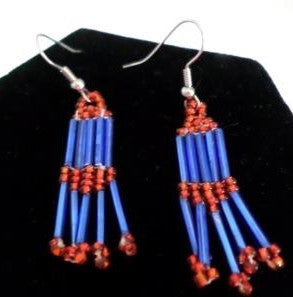 Blue and Red Dangle Earrings