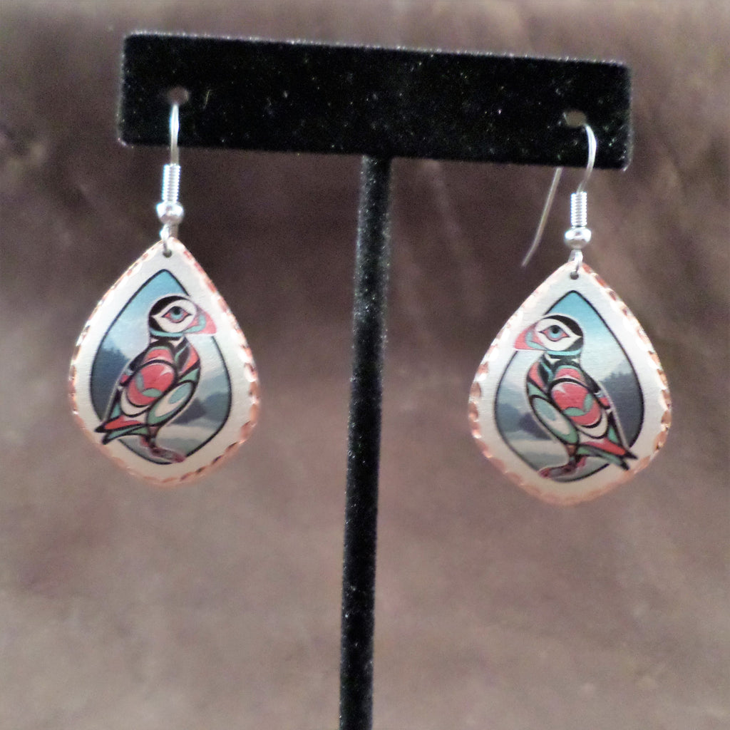 Colorful Puffin Copper Earrings