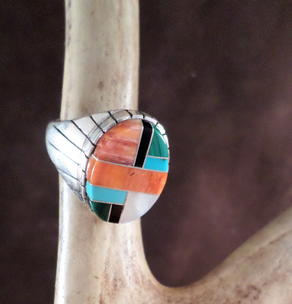 Men's Turquoise and Coral Oval Ring